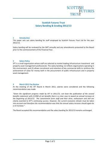 Scottish Futures Trust Salary Banding & Grading 2012/13