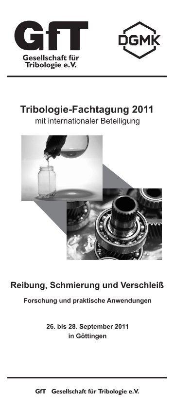 Programmheft Fachtagung_2011.cdr - Gesellschaft für Tribologie eV
