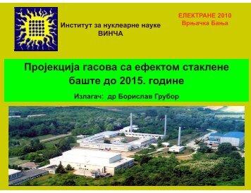 Пројекција гасова са ефектом стаклене баште до 2015. године