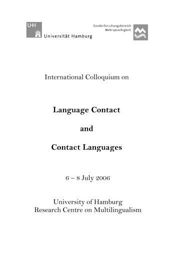 Language Contact and Contact Languages - Universität Hamburg
