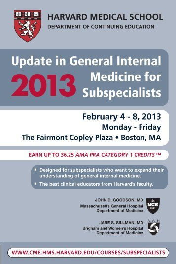 Update in General Internal Medicine for Subspecialists - HMS-CME