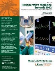 Perioperative Medicine Summit 2012 - Cleveland Clinic Center for ...