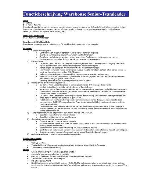 Functiebeschrijving Warehouse Senior-Teamleader