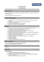Functiebeschrijving Product Manager - Tech Data