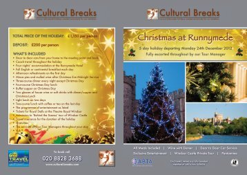 To view full brochure click here - Cultural Breaks