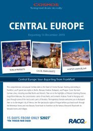 Central Europe tour departing from Frankfurt Departing 14 - RACQ