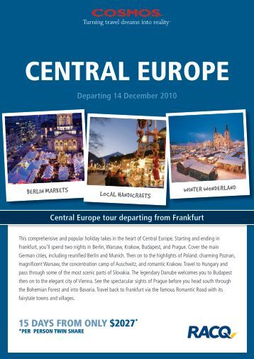 Central Europe tour departing from Frankfurt Departing 14 - RACQ