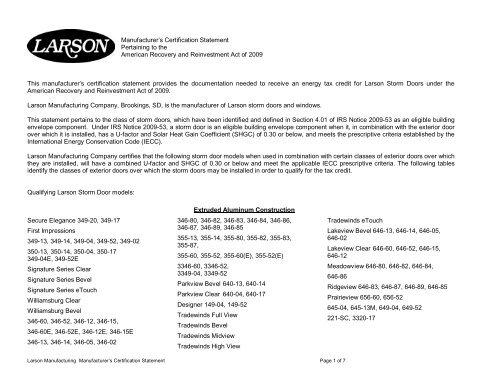 Manufacturer's Certification Statement - Larson Storm Doors