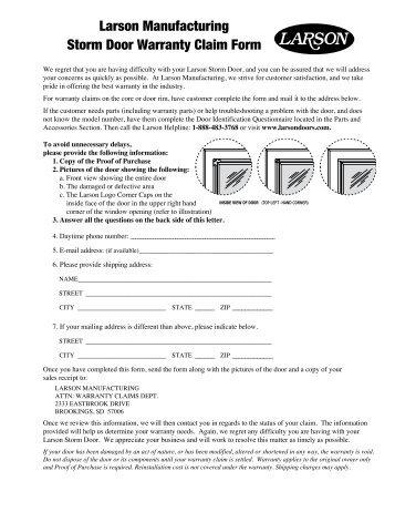 Larson Manufacturing Storm Door Warranty Claim Form  sc 1 st  Yumpu & Larsondoors.com Magazines