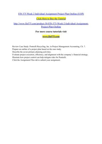 fin 575 week 2 individual assignment project plan outline uop