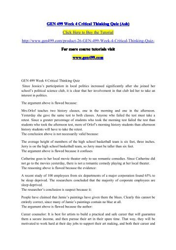 GEN 499 Week 4 Critical Thinking Quiz (Ash)