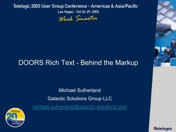 DOORS 4.0 - Introduction of Rich Text  sc 1 st  Yumpu & DOORS DXL - Adventures in Microsoft OLE Automation