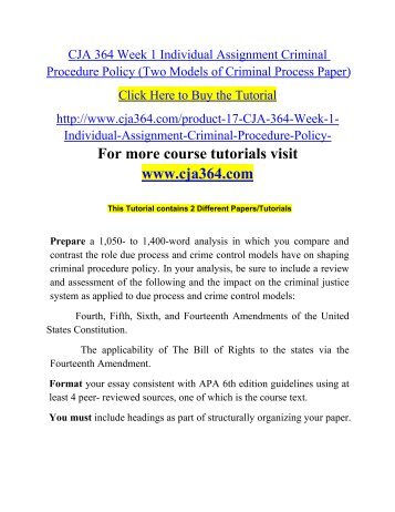 Criminal procedure policy paper