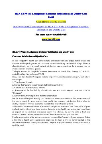 HCA 375 Week 2 Assignment Customer Satisfaction and Quality Care (Ash)