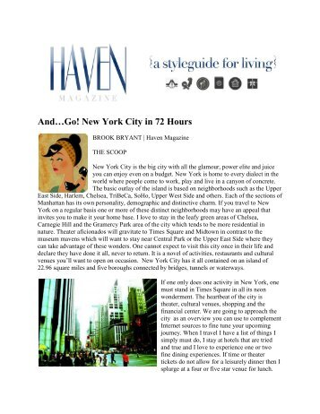 And…Go! New York City in 72 Hours - Hotel Chandler New York City