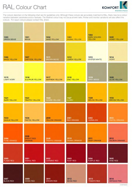RAL Colour Chart KOMFORT
