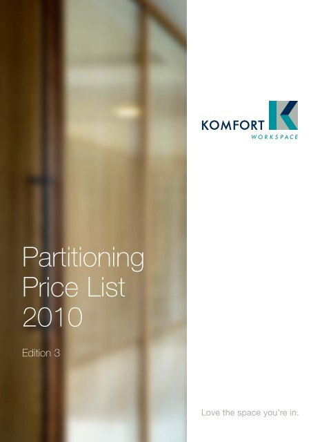 Partitioning Price List 2010 - Komfort