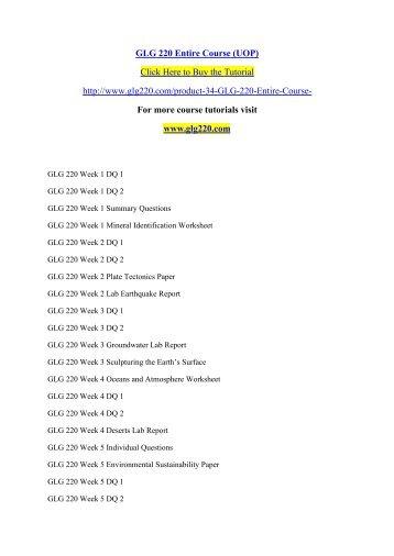 GLG 220 courses / glg220dotcom