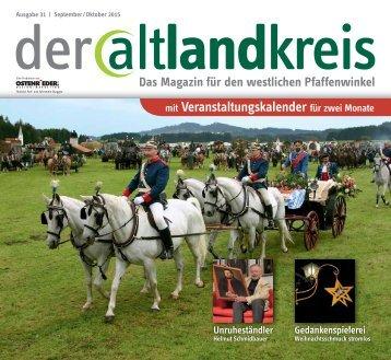 der altlandkreis - das Regionalmagazin im Schongauer Land - Ausgabe September/Oktober 2015