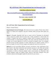 HCA 459 Week 1 DQ 1 Organizational Survival Strategies (Ash)