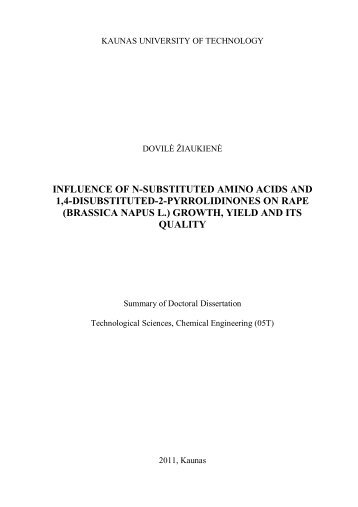 influence of n-substituted amino acids and 1,4-disubstituted-2 ...