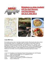 Einladung zu einer Ausfahrt mit Go-Kart Rennen und Nachtessen am Sa 4 Mai 2013