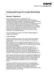Verlegeempfehlungen für noraplan Bodenbeläge
