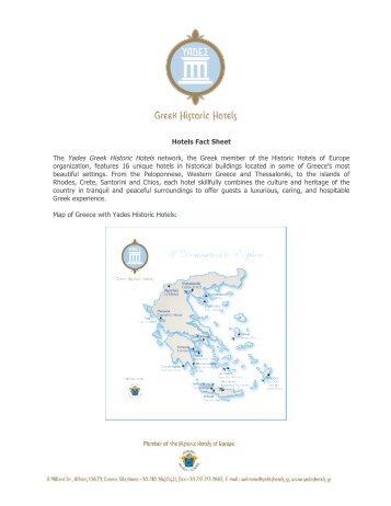 Hotels Fact Sheet The Yades Greek Historic Hotels network, the ...
