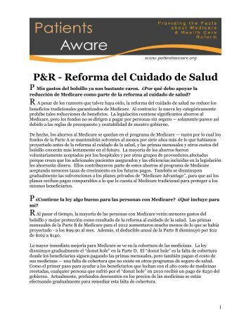 P&R - Reforma del Cuidado de Salud
