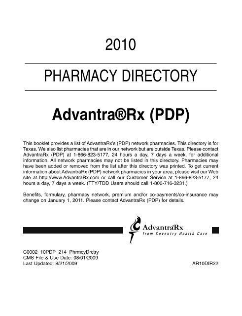 9c2270c2627 2010 PHARMACY DIRECTORY Advantra®Rx (PDP)