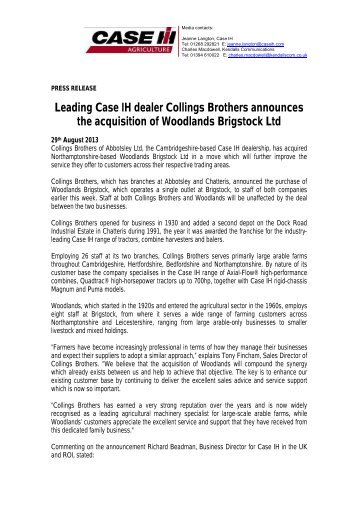 Collings Brothers aquire Woodlands Brigstock Ltd Press Release