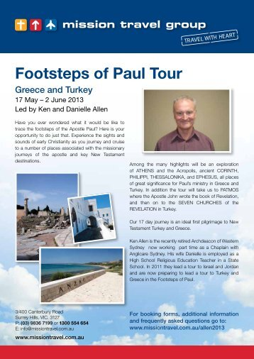 Footsteps of Paul Tour - Mission Travel