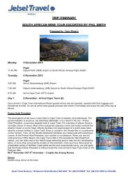 TRIP ITINERARY SOUTH AFRICAN WINE TOUR ESCORTED BY ...