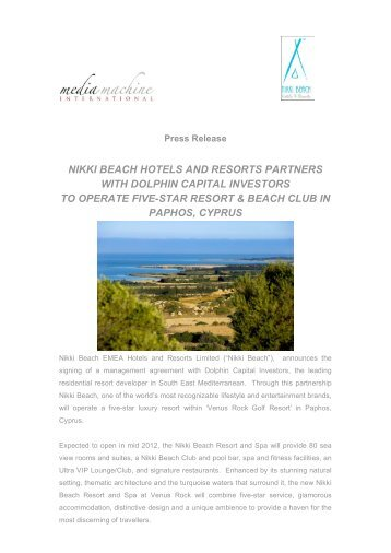 nikki beach hotels and resorts partners with dolphin capital investors ...