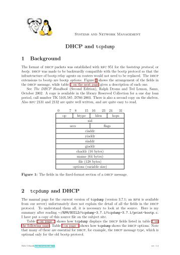 DHCP and tcpdump 1 Background 2 tcpdump and DHCP