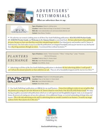 advertisers' testimonials - St Simons Island Visitor and Travel Guide