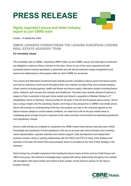 PRESS RELEASE Highly regarded Leisure and     - CBRE Hotels