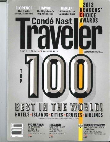 Conde Naste Traveler Top 100 issue - Waterford Hotels & Inns