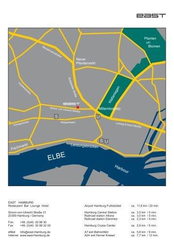 Hamburg map directions EAST Hotel Hamburg
