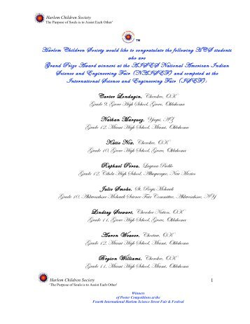 Harlem Children Society would like to congratulate the following ...