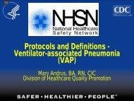 Protocols and Definitions - Ventilator-associated Pneumonia (VAP)