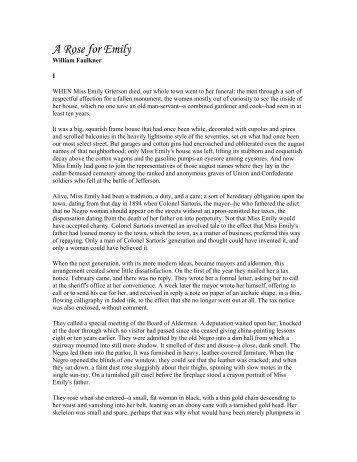 a rose for emily by william faulkner 3 essay