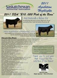 2011 SSA Scholarship Heifer - Saskatchewan Simmental Association