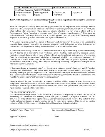 Fair Credit Reporting Act (FRCA) Rights - Tusculum College