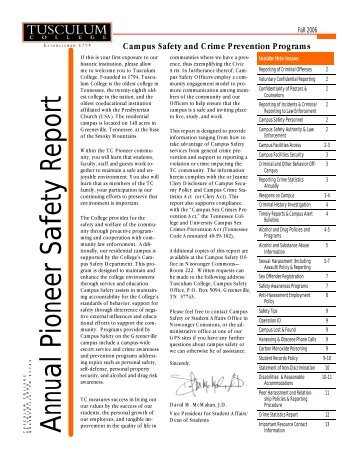 Annual Pioneer Safety Report - Tusculum College