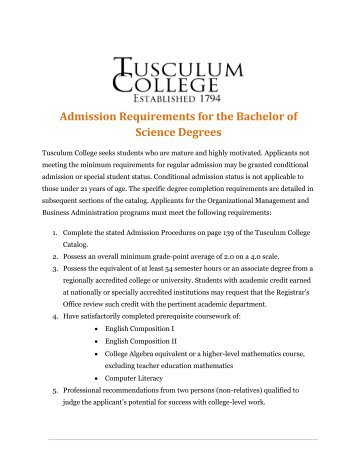 Admission Requirements for the Bachelor of Science Degrees