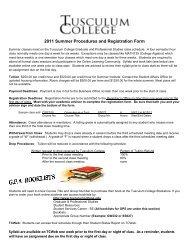 2011 Summer Procedures and Registration Form