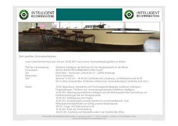 Sehr geehrter Seminarteilnehmer, - Intelligent Recommendations