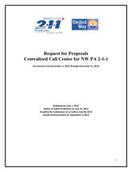 Request for Proposals Centralized Call Center for NW PA 2-1-1