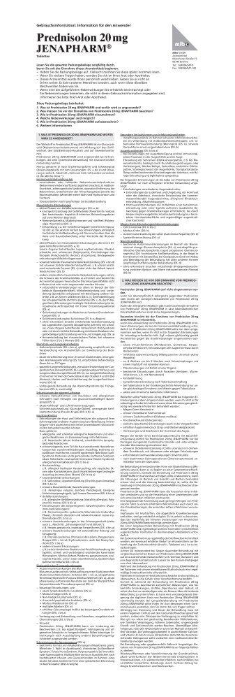Prednisolon 20 mg JENAPHARM - mibe GmbH Arzneimittel